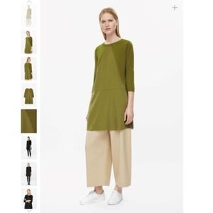 COS Olive Mixed Material Sweater Dress